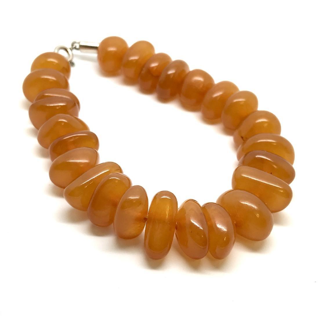 Art deco bracelet Baltic amber beads silver clasp rare - 6