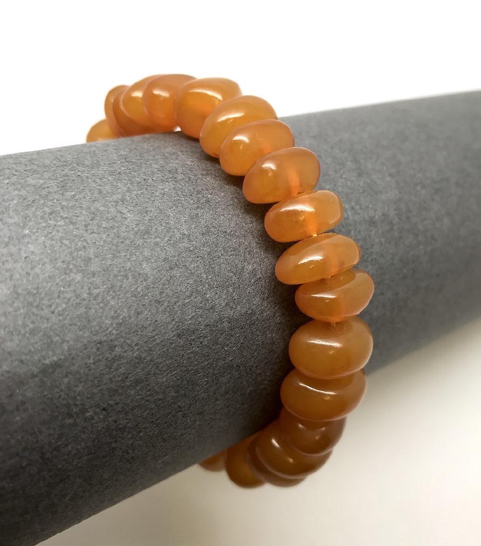 Art deco bracelet Baltic amber beads silver clasp rare - 8