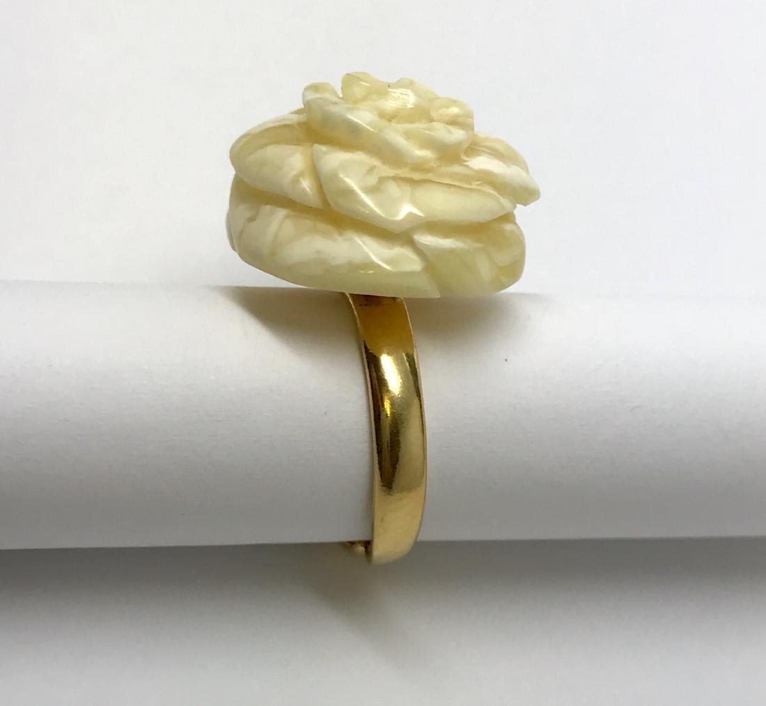 Vintage silver ring white Baltic amber hand carved rose