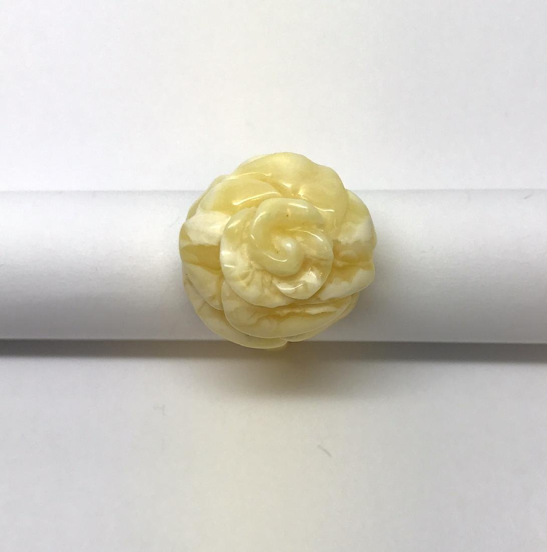 Vintage silver ring white Baltic amber hand carved rose - 3