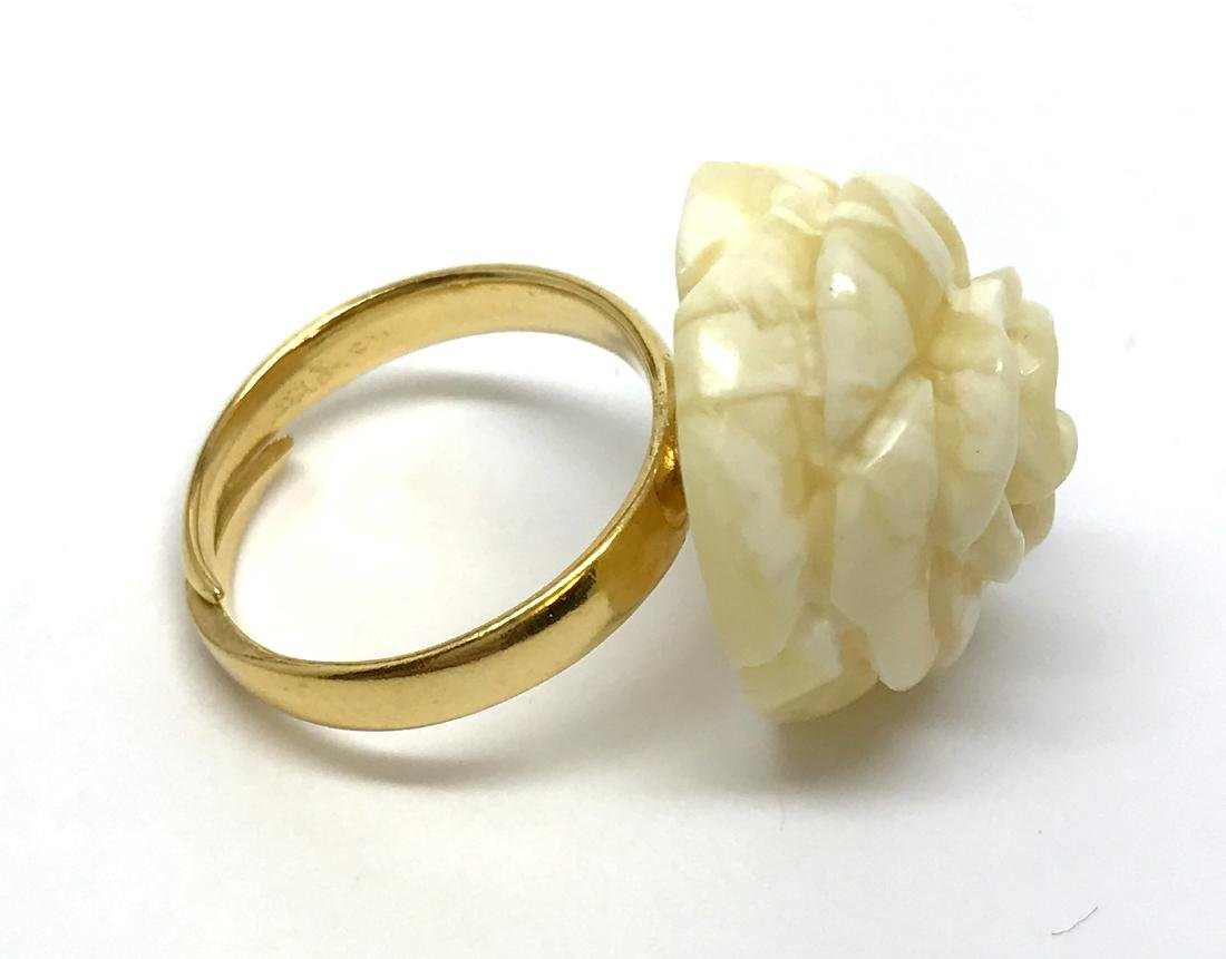Vintage silver ring white Baltic amber hand carved rose - 5