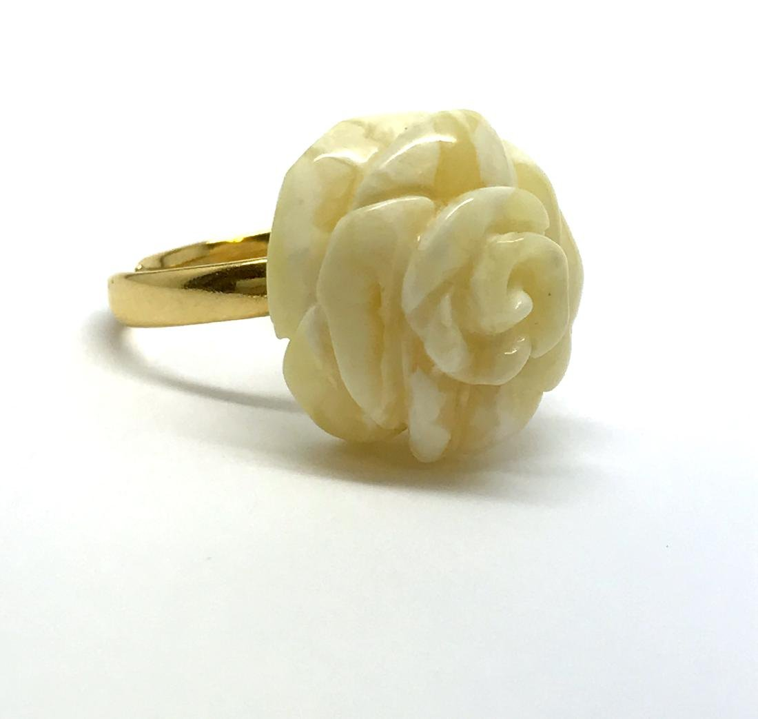Vintage silver ring white Baltic amber hand carved rose - 6