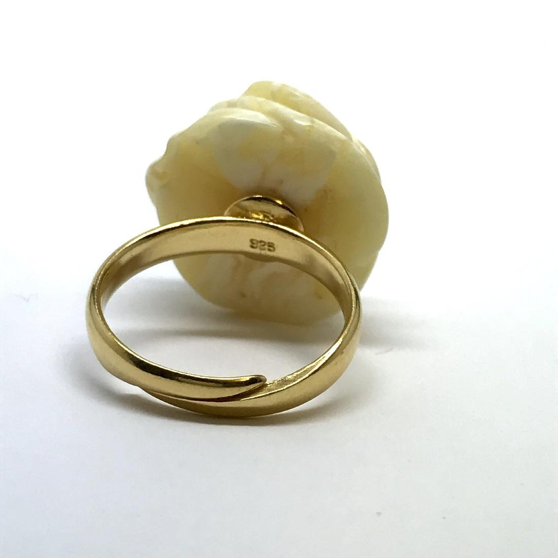 Vintage silver ring white Baltic amber hand carved rose - 8
