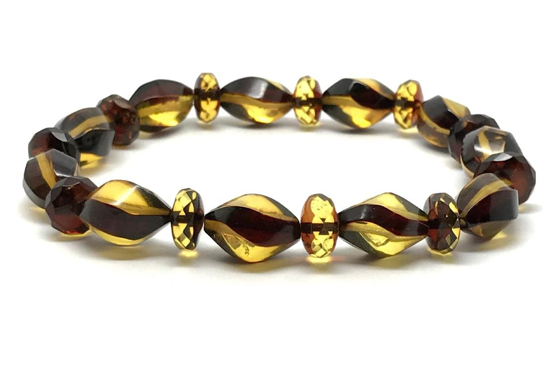 Unique bracelet hand carved Baltic amber beads