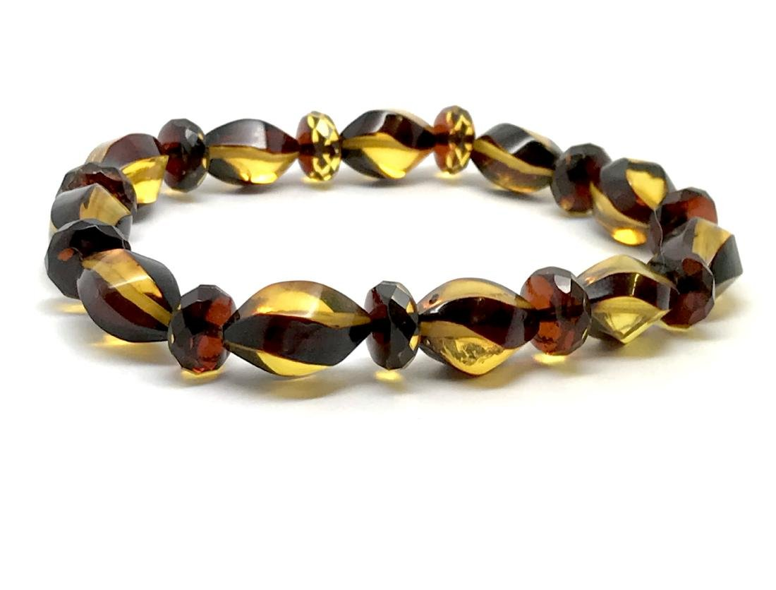 Unique bracelet hand carved Baltic amber beads - 2