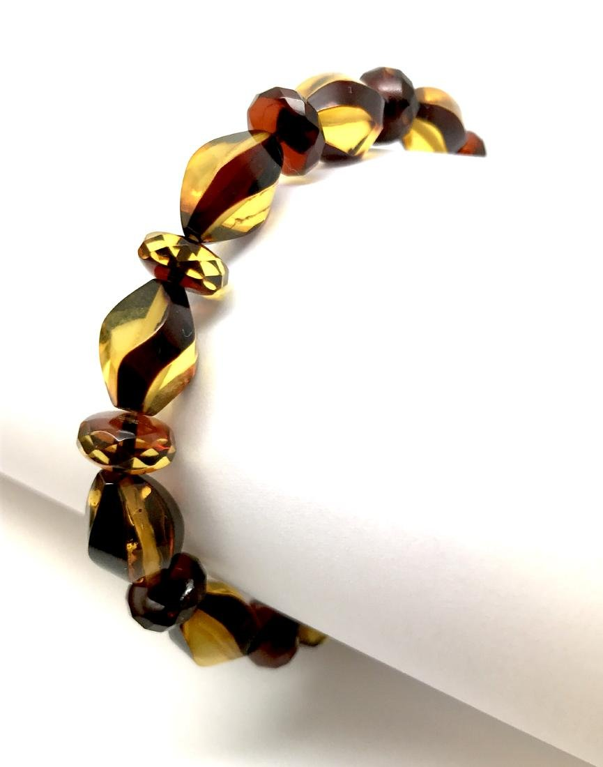 Unique bracelet hand carved Baltic amber beads - 7