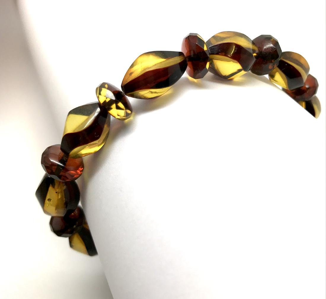Unique bracelet hand carved Baltic amber beads - 8