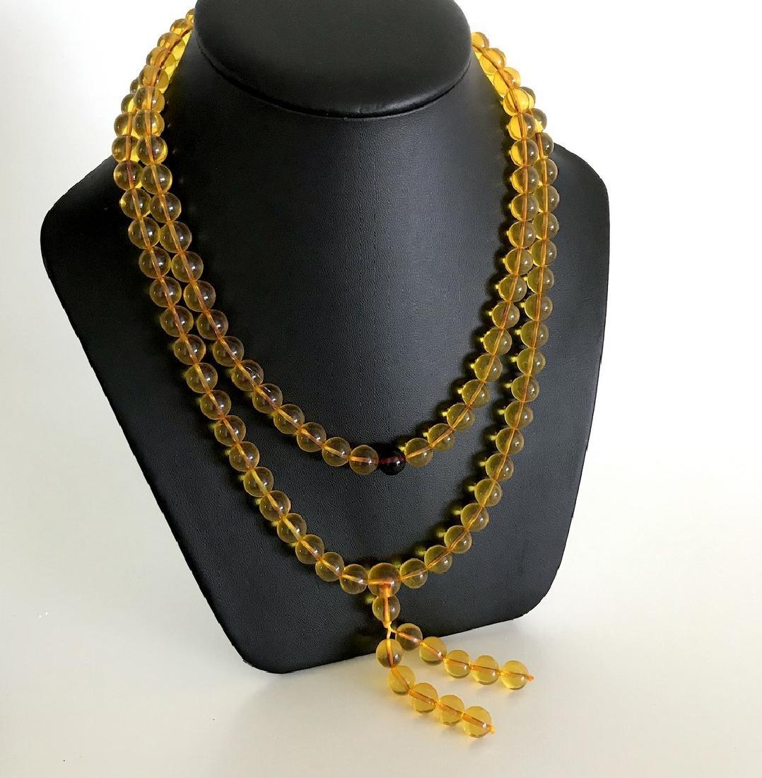 Tibetan japa mala Baltic amber golden 108 beads ø10mm