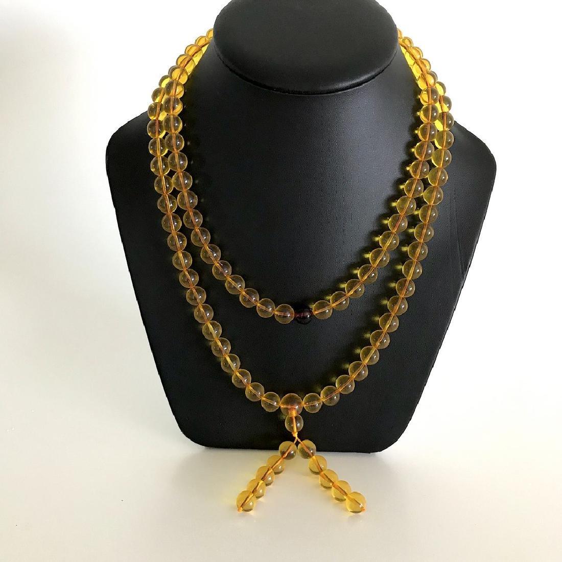 Tibetan japa mala Baltic amber golden 108 beads ø10mm - 2