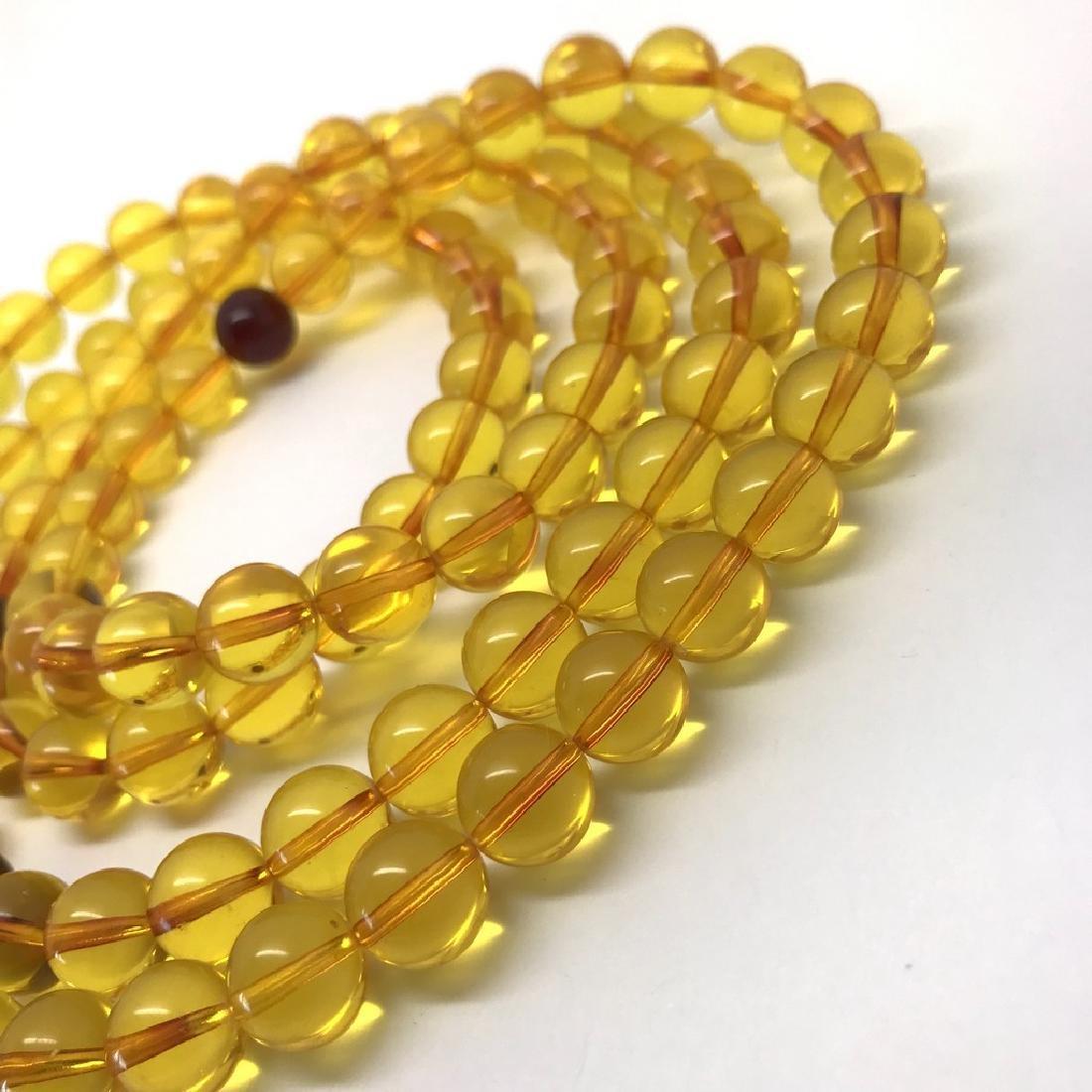 Tibetan japa mala Baltic amber golden 108 beads ø10mm - 5