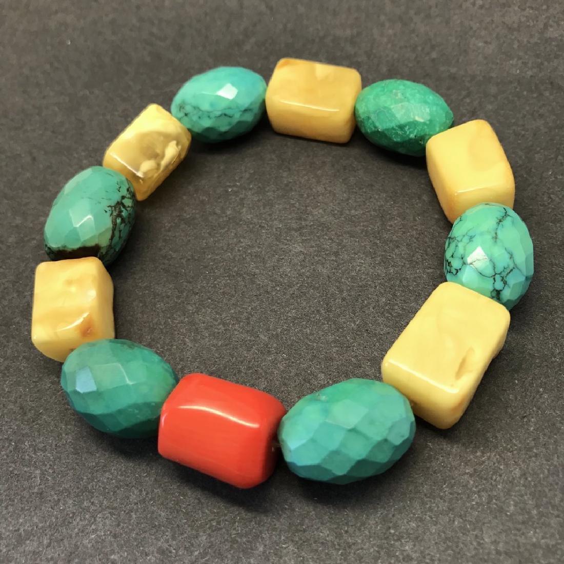 Vintage Baltic amber, turquoise & coral bracelet, 46 gr