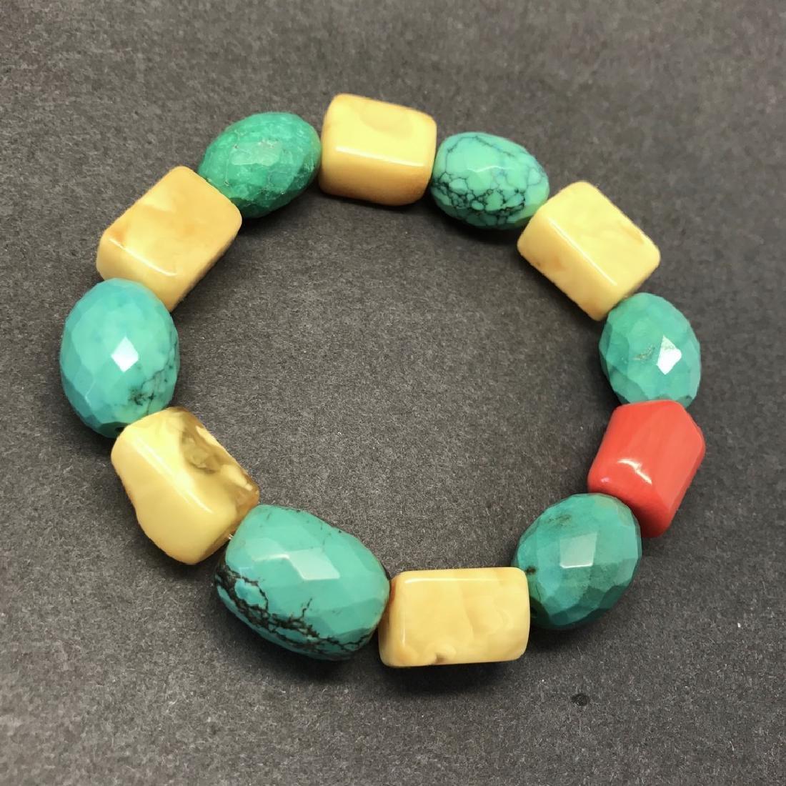 Vintage Baltic amber, turquoise & coral bracelet, 46 gr - 2