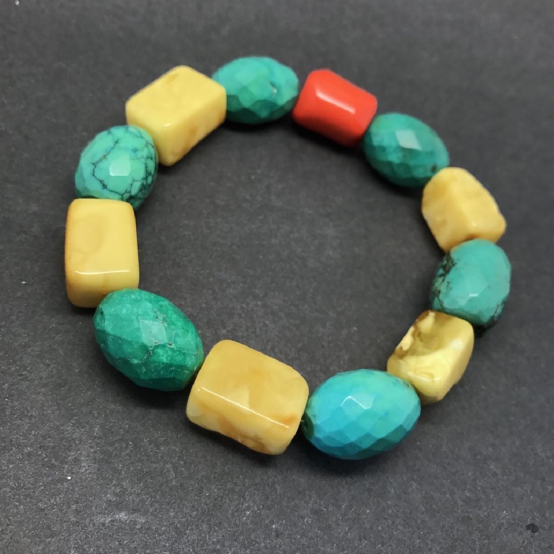 Vintage Baltic amber, turquoise & coral bracelet, 46 gr - 3