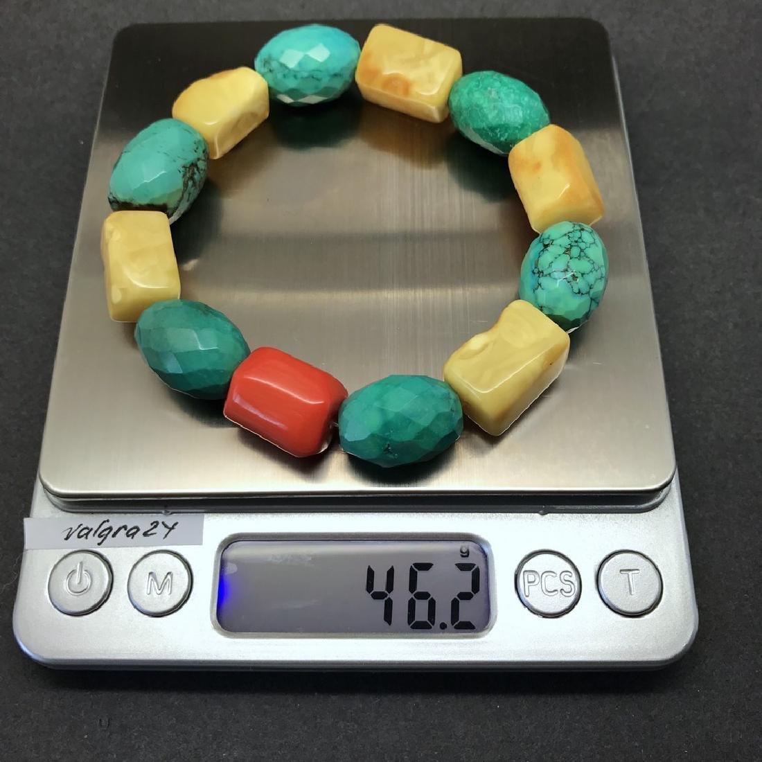 Vintage Baltic amber, turquoise & coral bracelet, 46 gr - 4