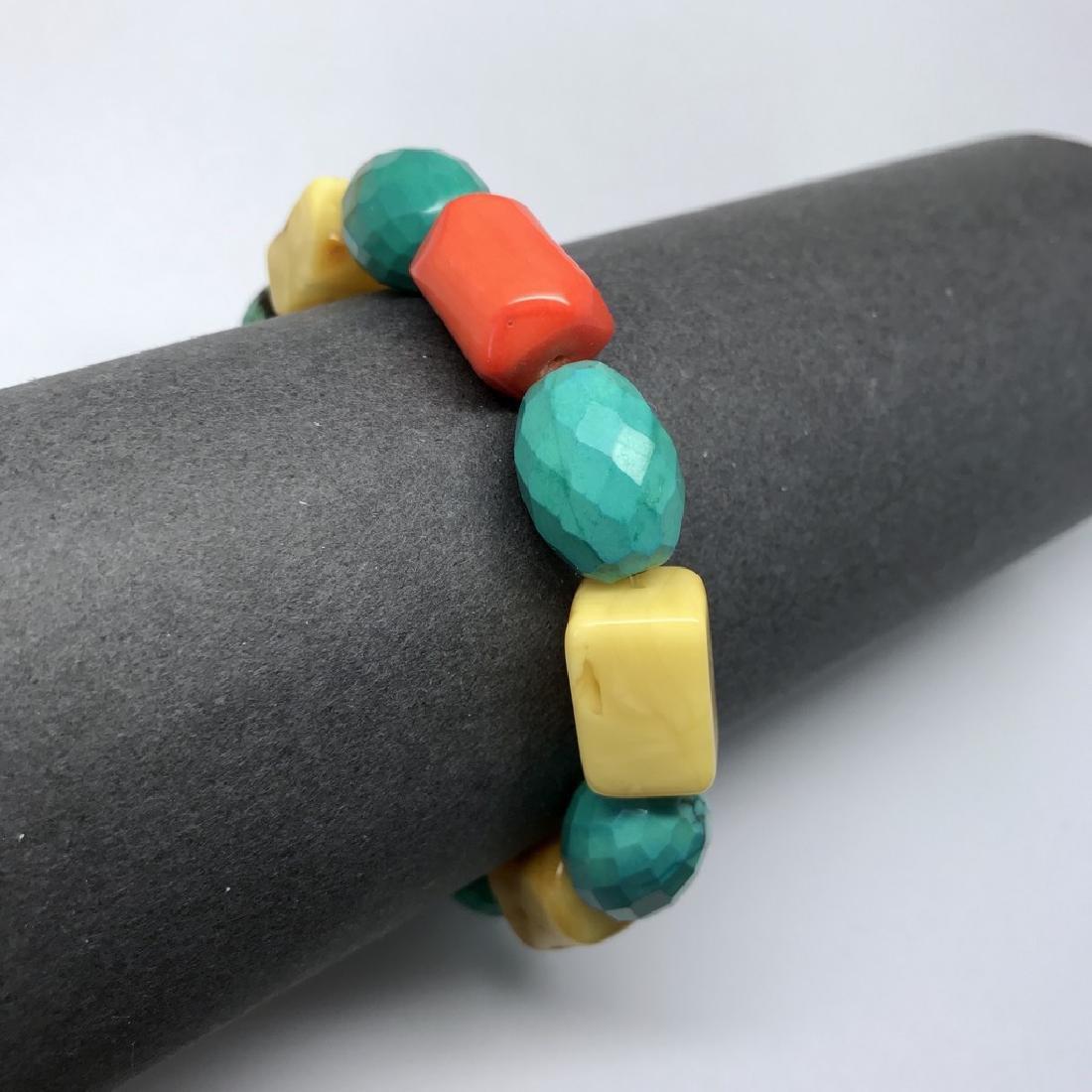 Vintage Baltic amber, turquoise & coral bracelet, 46 gr - 5