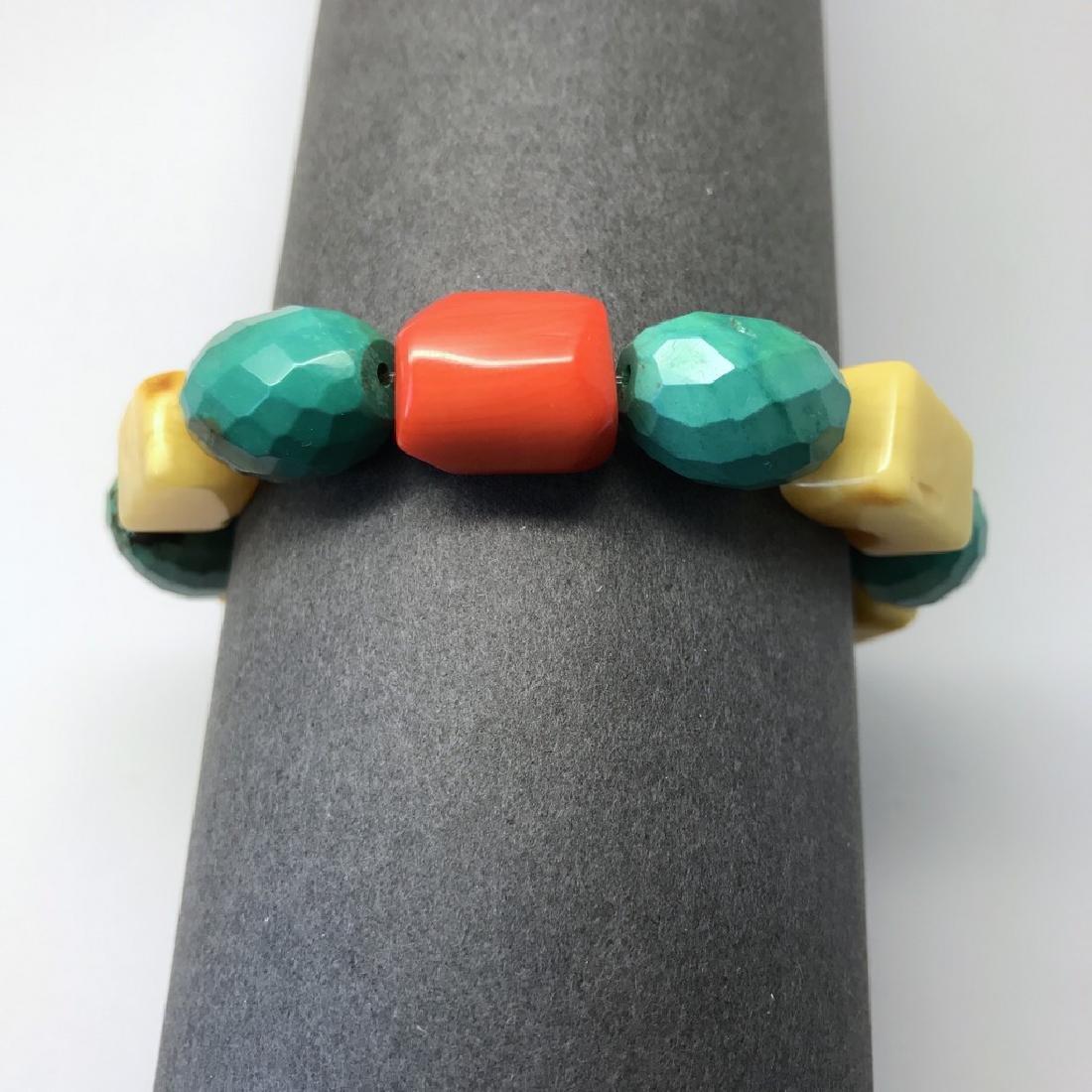 Vintage Baltic amber, turquoise & coral bracelet, 46 gr - 6
