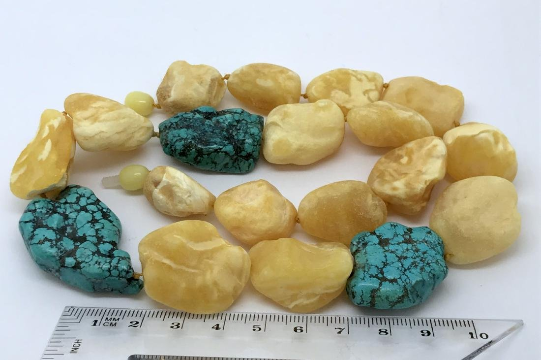 Vintage Baltic amber, turquoise necklace, - 6