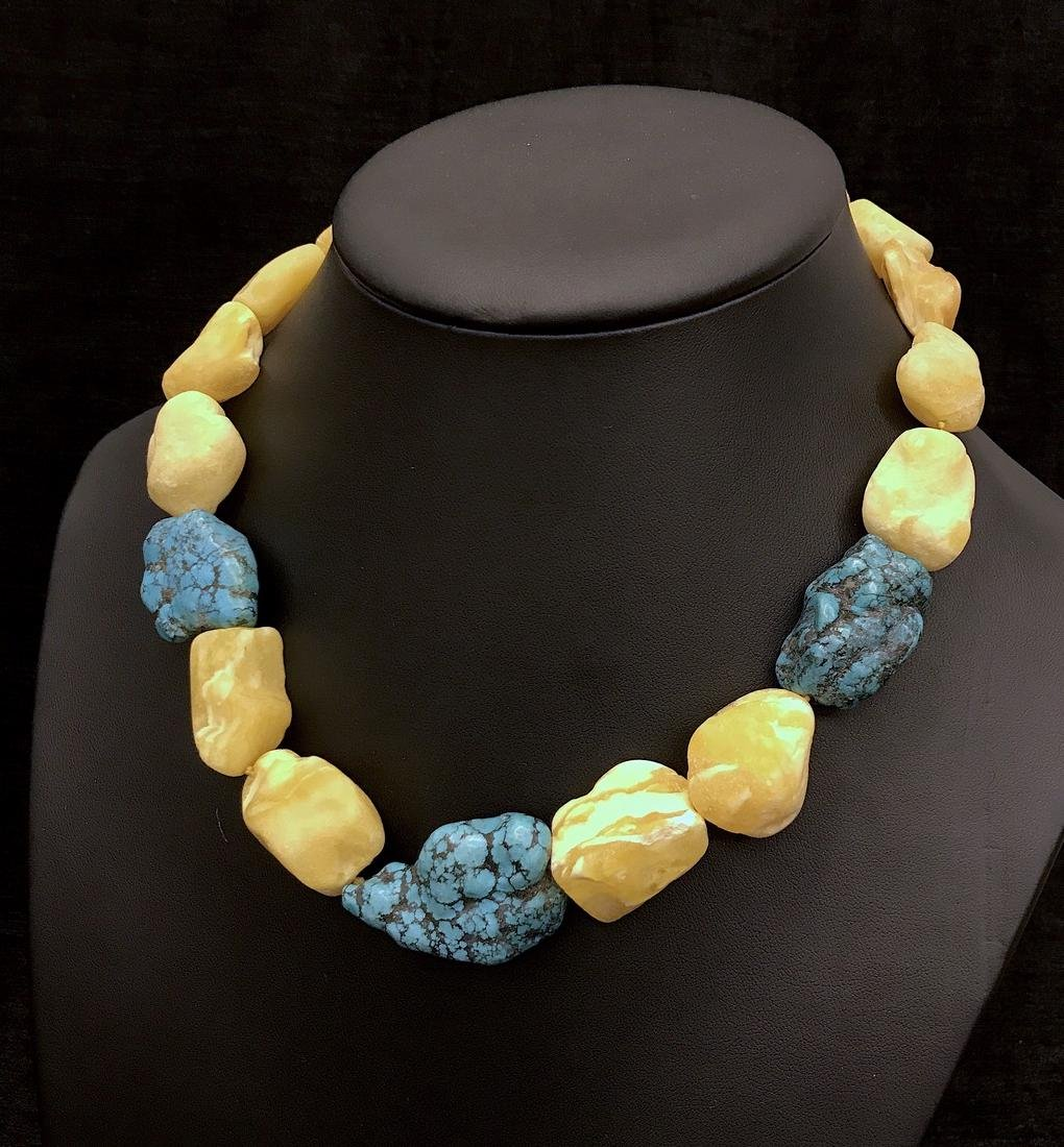 Vintage Baltic amber, turquoise necklace, - 9