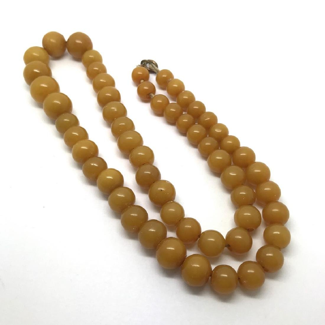Antique necklace toffee amber design bakelite beads - 2
