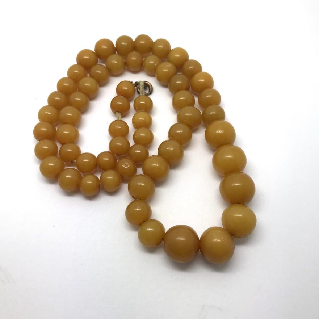 Antique necklace toffee amber design bakelite beads - 3