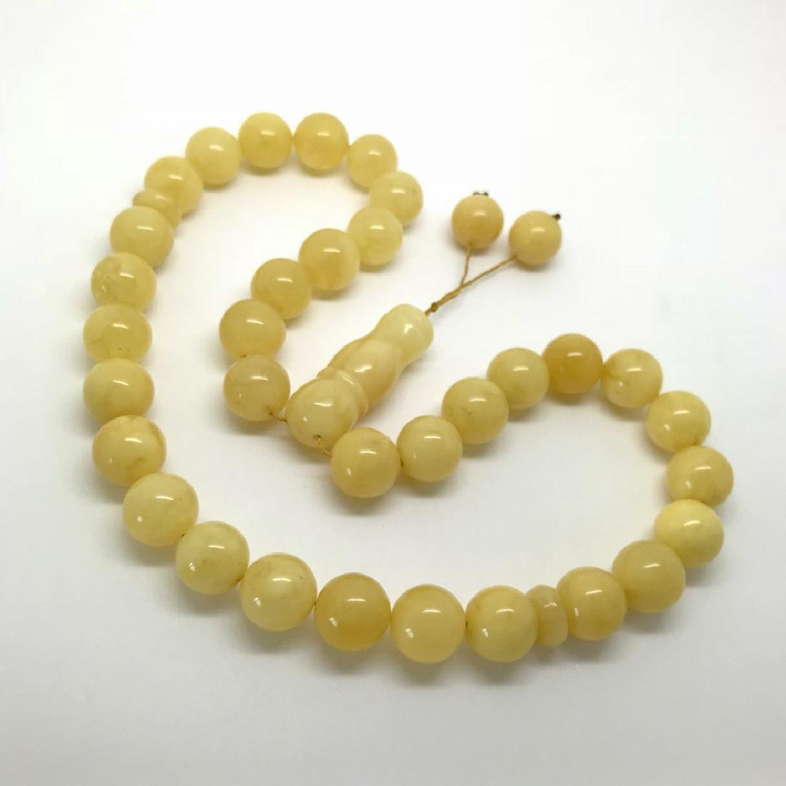 Misbaha tesbih Baltic amber yellow 33 beads ø12.5mm
