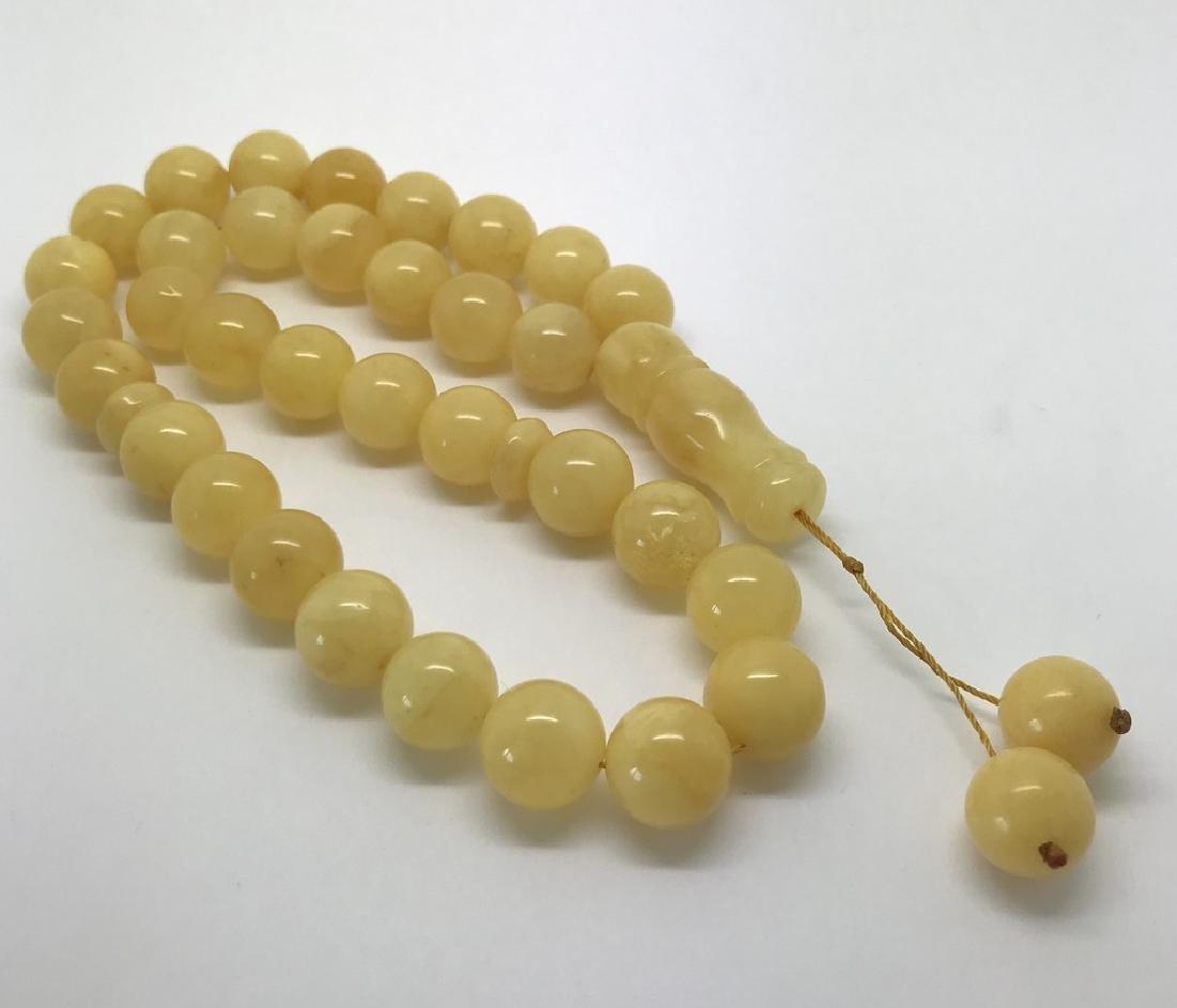 Misbaha tesbih Baltic amber yellow 33 beads ø12.5mm - 6