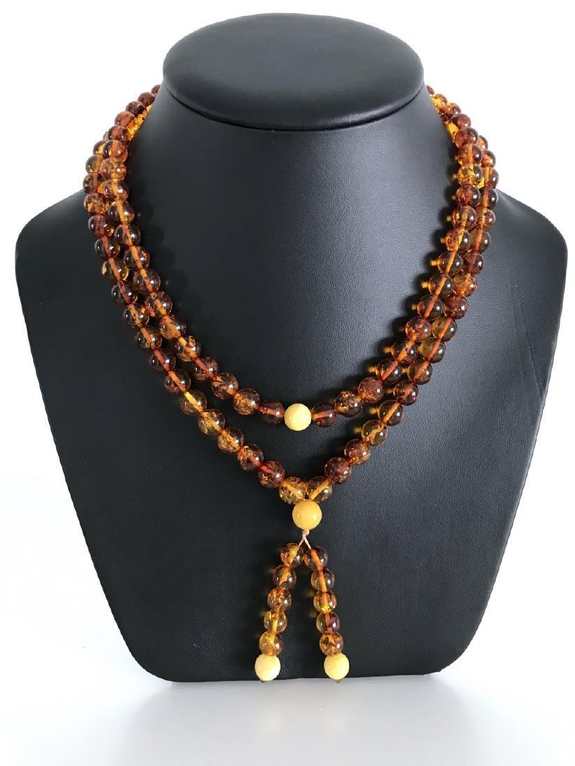 Japa mala necklace Baltic amber cognac beads ø9mm 52