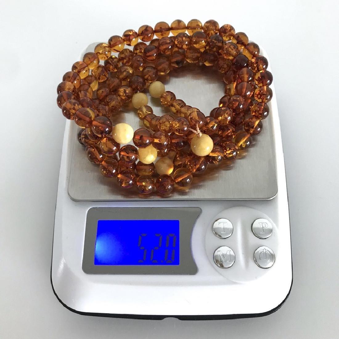 Japa mala necklace Baltic amber cognac beads ø9mm 52 - 3
