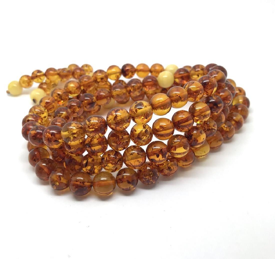 Japa mala necklace Baltic amber cognac beads ø9mm 52 - 4