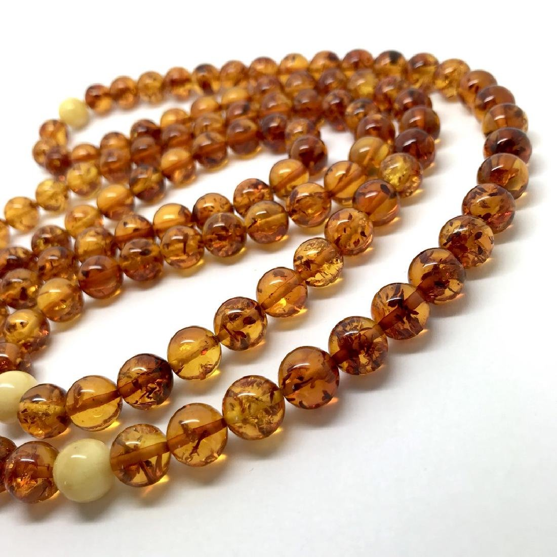 Japa mala necklace Baltic amber cognac beads ø9mm 52 - 6