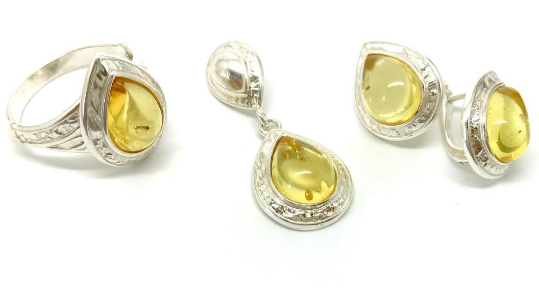 Sterling silver Baltic amber set ring earrings pendant - 3