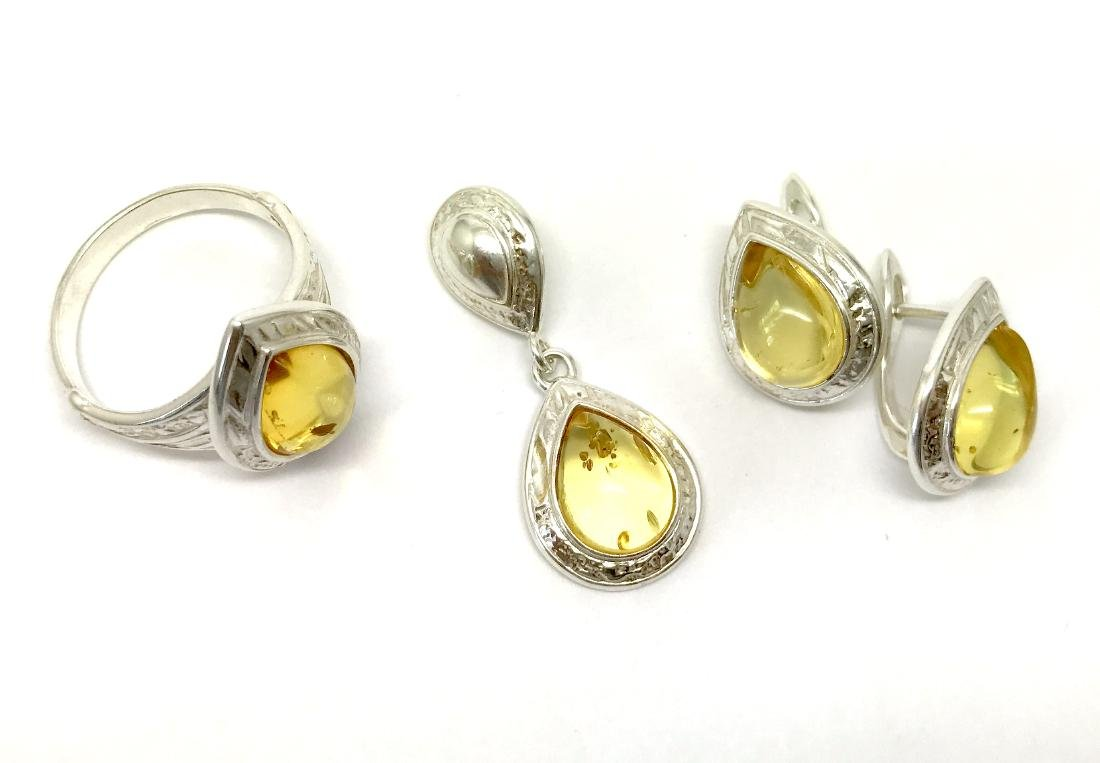 Sterling silver Baltic amber set ring earrings pendant - 4