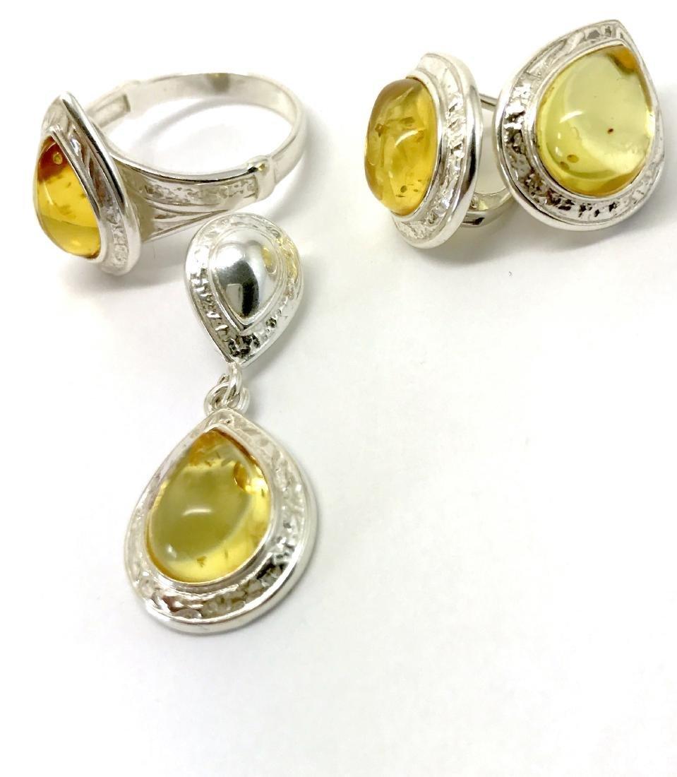 Sterling silver Baltic amber set ring earrings pendant - 5