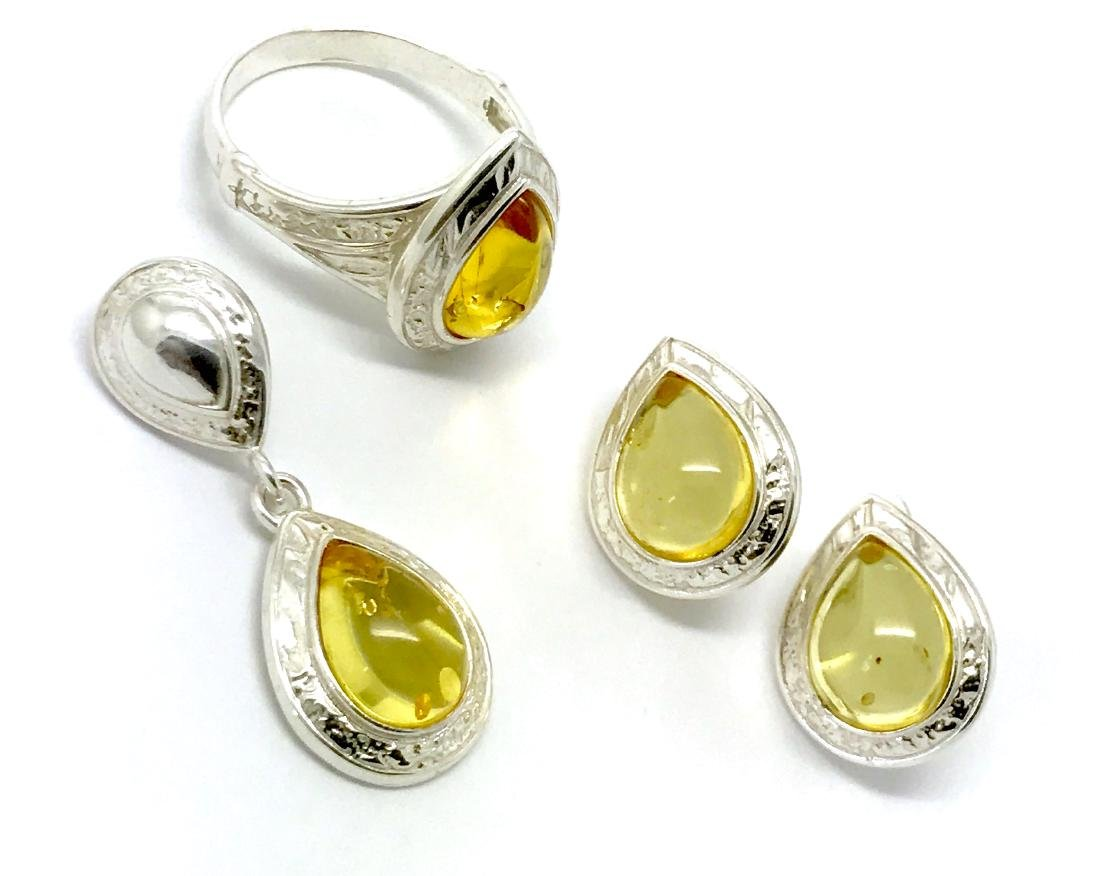 Sterling silver Baltic amber set ring earrings pendant - 6