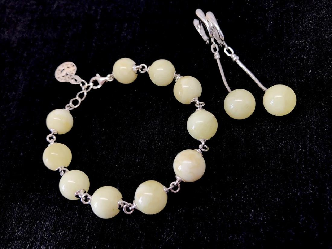 Sterling silver white Baltic amber set bracelet