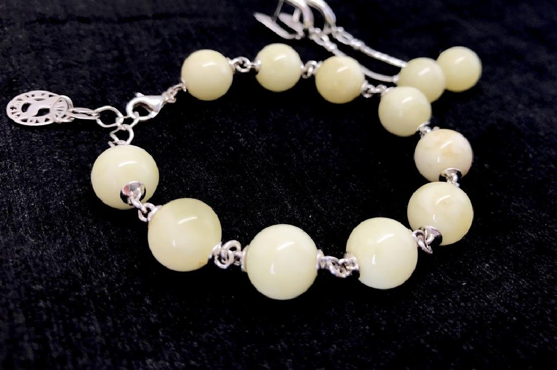 Sterling silver white Baltic amber set bracelet - 2