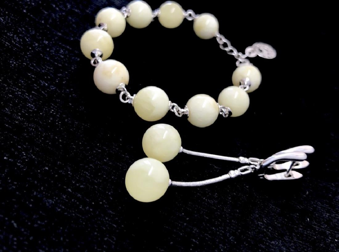 Sterling silver white Baltic amber set bracelet - 3