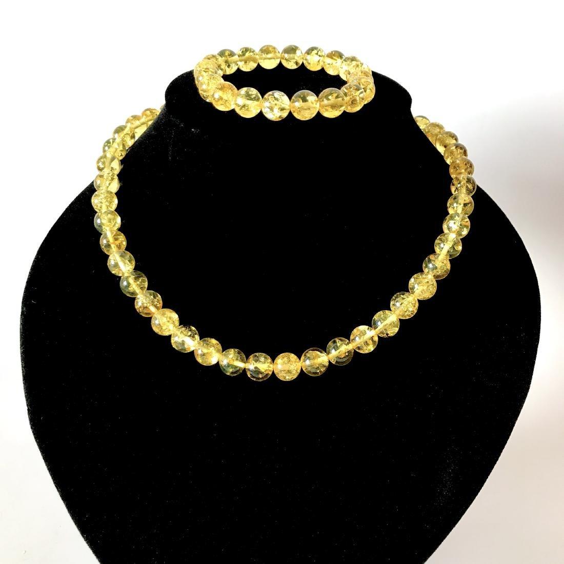 Baltic amber set necklace bracelet lemon beads ø9mm