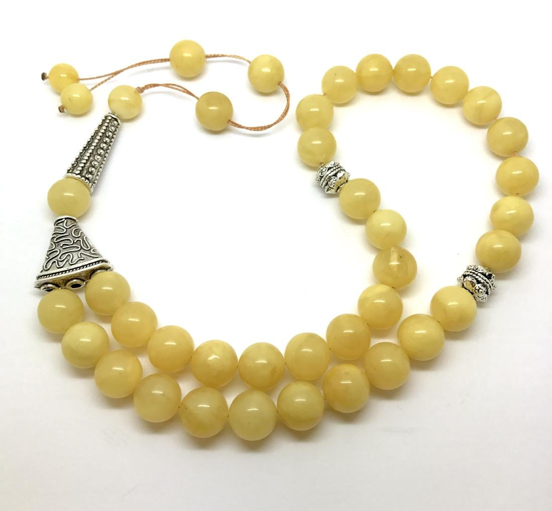 Misbaha tesbih Baltic amber egg yolk 33 beads ø14mm