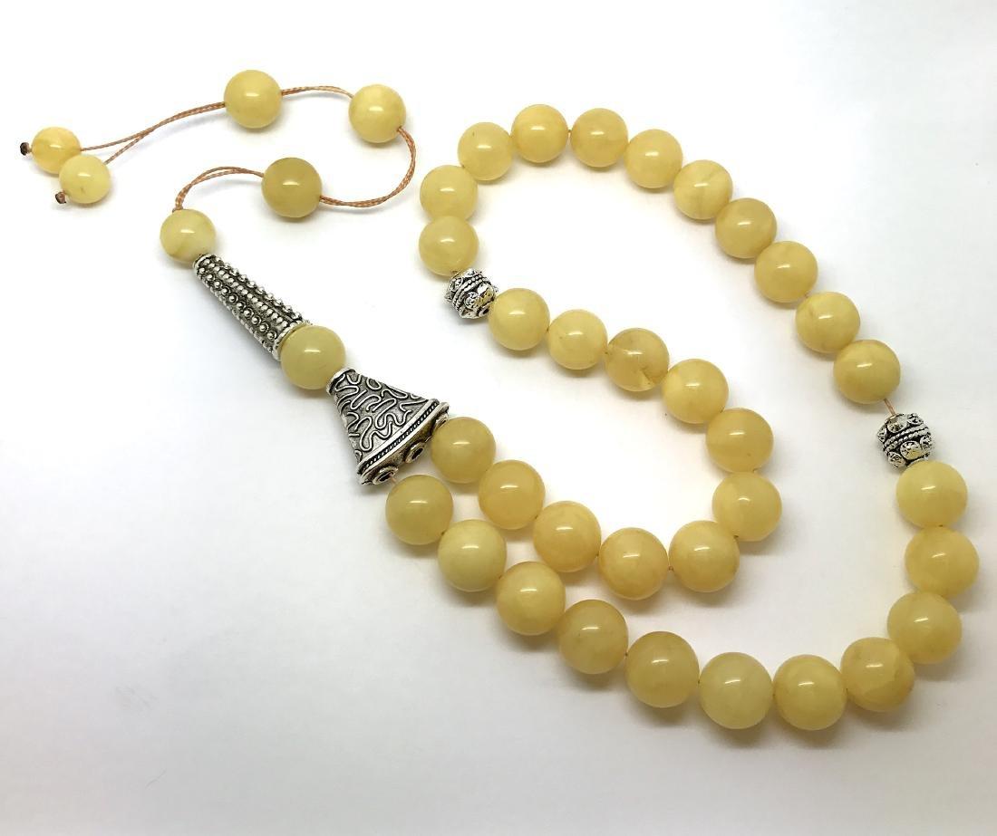 Misbaha tesbih Baltic amber egg yolk 33 beads ø14mm - 2