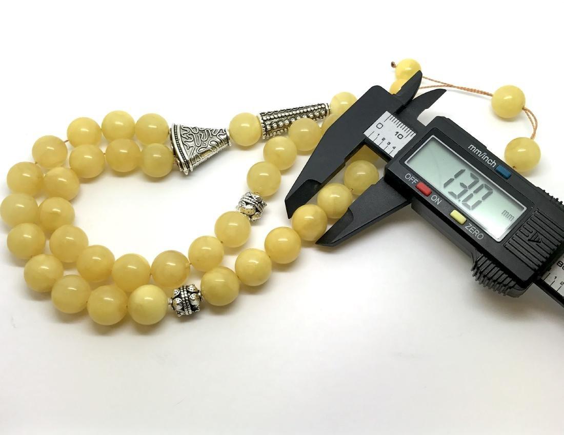 Misbaha tesbih Baltic amber egg yolk 33 beads ø14mm - 4