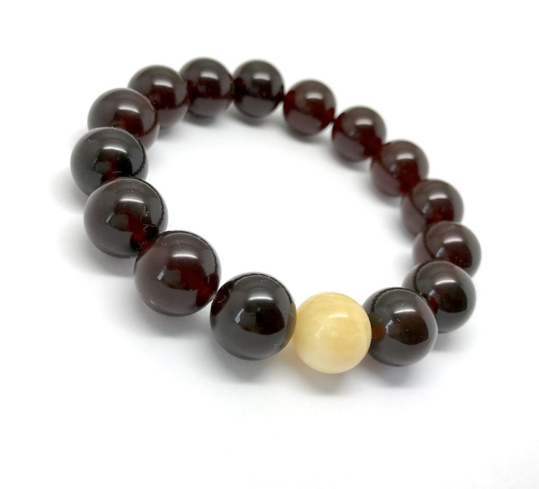 Bracelet Baltic amber cherry white beads ø11mm