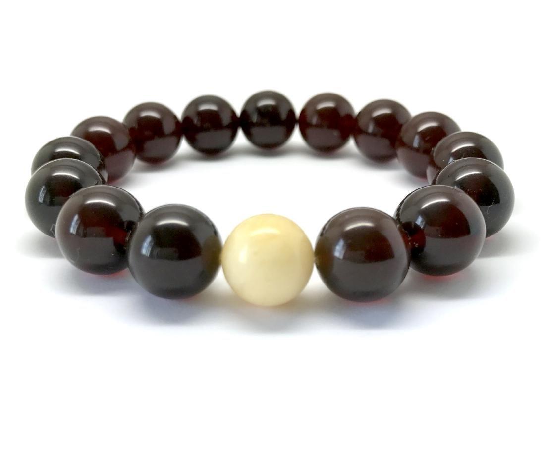 Bracelet Baltic amber cherry white beads ø11mm - 2