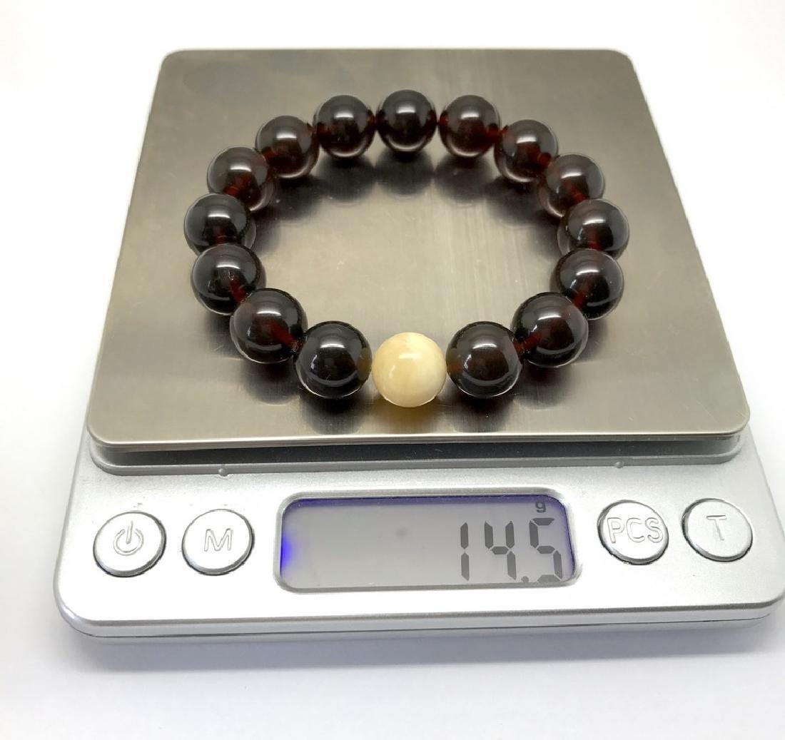 Bracelet Baltic amber cherry white beads ø11mm - 3