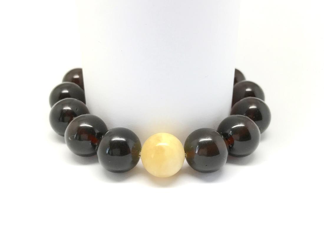 Bracelet Baltic amber cherry white beads ø11mm - 4