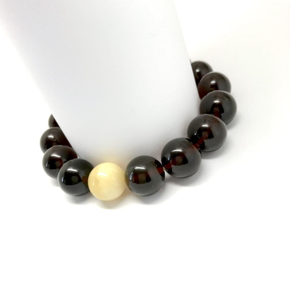 Bracelet Baltic amber cherry white beads ø11mm - 5