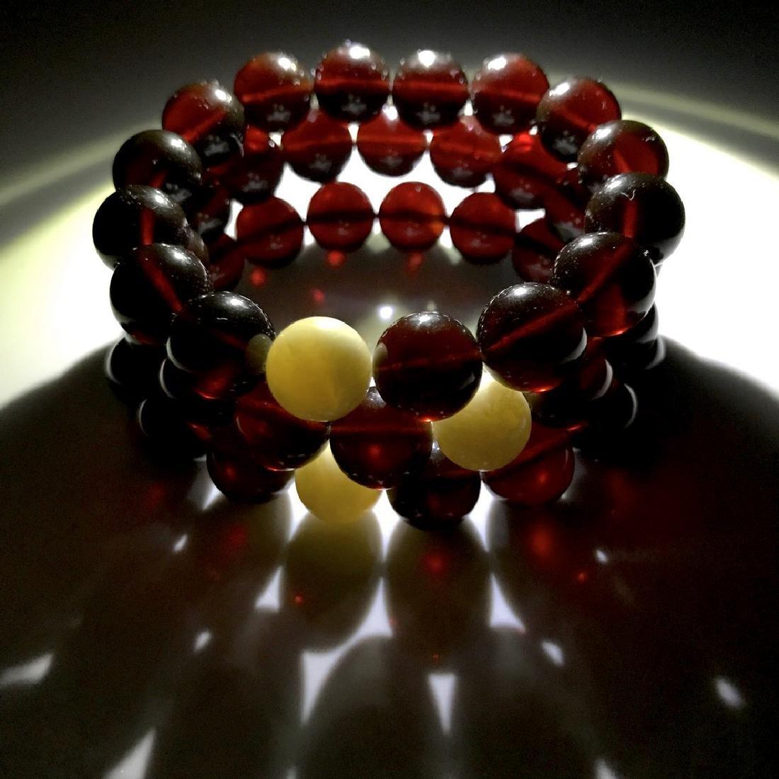 Bracelet Baltic amber cherry white beads ø11mm - 6