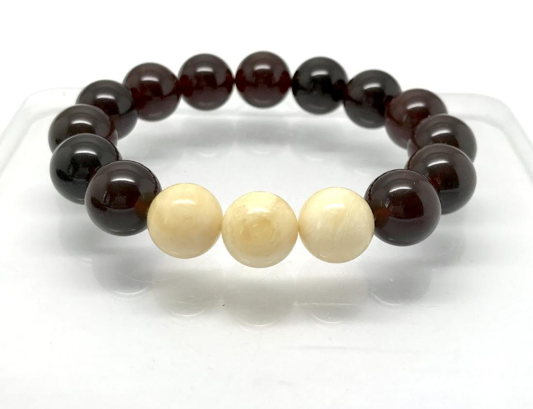 Bracelet Baltic amber cherry white beads ø11mm