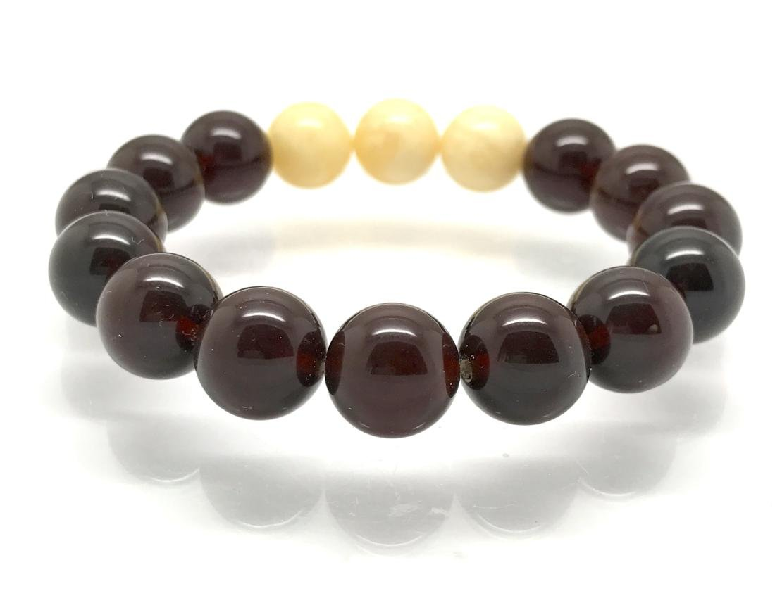 Bracelet Baltic amber cherry white beads ø11mm - 2