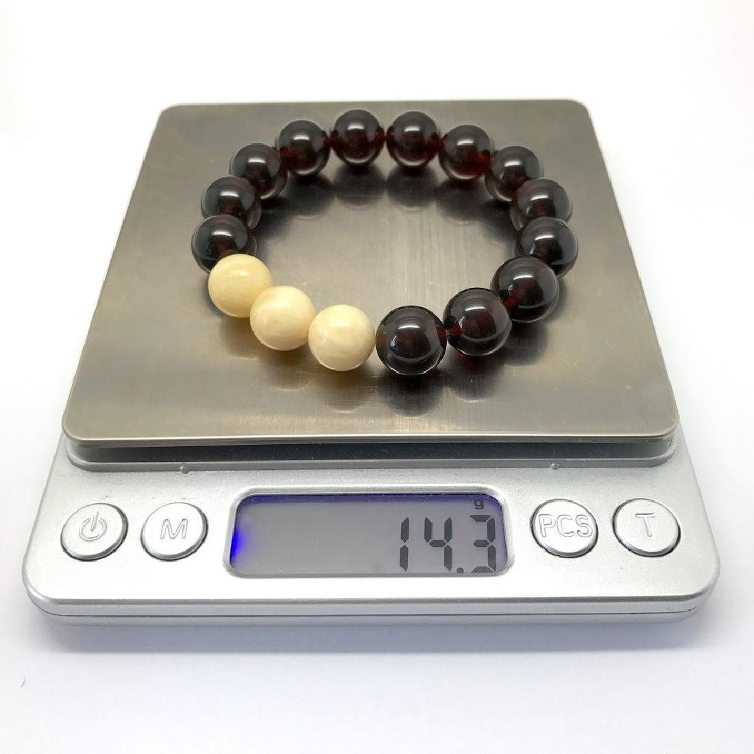 Bracelet Baltic amber cherry white beads ø11mm - 3